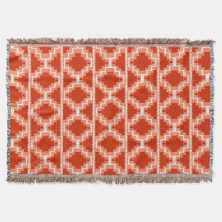 Ikat aztekisches Muster - Rost, Orange und Weiß Decke