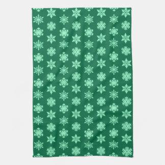 Ikat Schneeflocken - Kiefern- und Minzengrün Handtücher