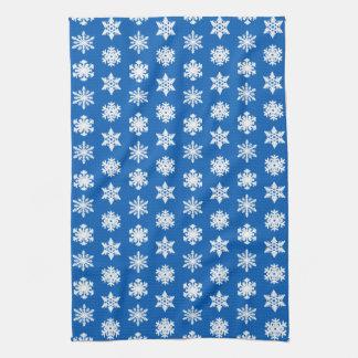 Ikat Schneeflocken - Kobaltblau und -WEISS Küchenhandtuch