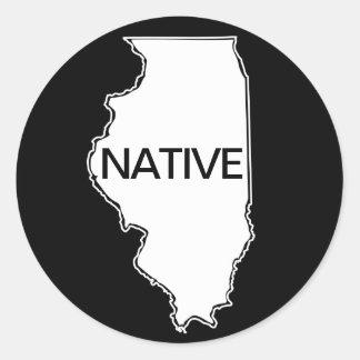Illinois-gebürtiges Schwarz-weißes Runder Aufkleber