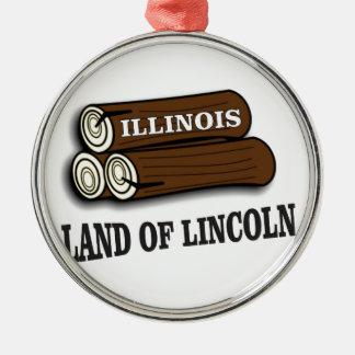 Illinois-Klotz von Lincoln Silbernes Ornament