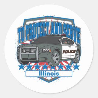 Illinois, zum des Polizei-Streifenwagens zu Runder Aufkleber