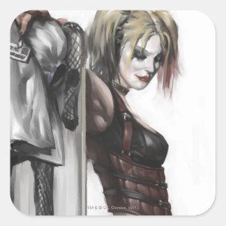 Illustration Batmans Arkham Stadt-| Harley Quinn Quadratischer Aufkleber