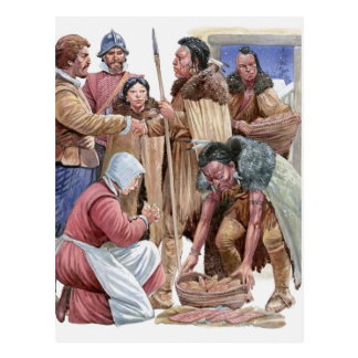 Illustration der amerikanischen Ureinwohner, die Postkarte