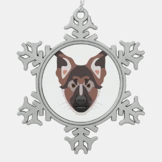 Illustration verfolgt Gesicht Schäferhund Schneeflocken Zinn-Ornament
