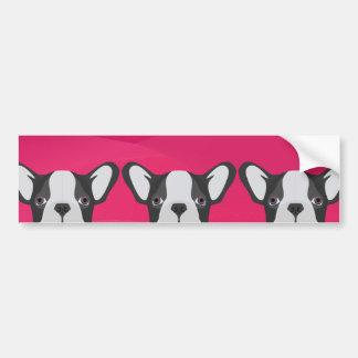 Illustrations-französische Bulldogge mit rosa Autoaufkleber