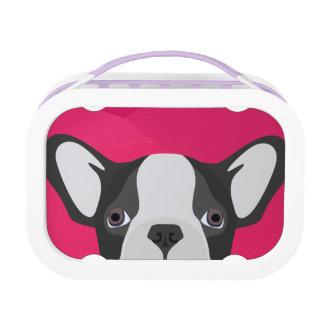 Illustrations-französische Bulldogge mit rosa Brotdose