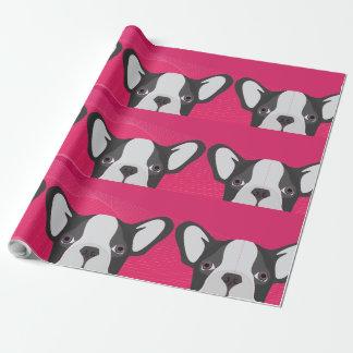 Illustrations-französische Bulldogge mit rosa Geschenkpapier