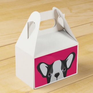 Illustrations-französische Bulldogge mit rosa Geschenkschachtel