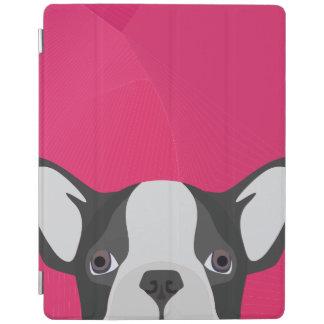 Illustrations-französische Bulldogge mit rosa iPad Smart Cover