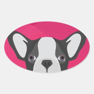 Illustrations-französische Bulldogge mit rosa Ovaler Aufkleber