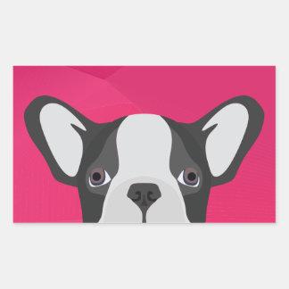 Illustrations-französische Bulldogge mit rosa Rechteckiger Aufkleber