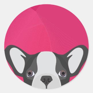 Illustrations-französische Bulldogge mit rosa Runder Aufkleber