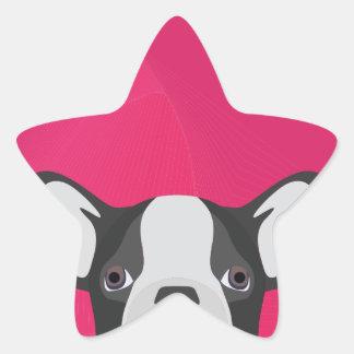 Illustrations-französische Bulldogge mit rosa Stern-Aufkleber