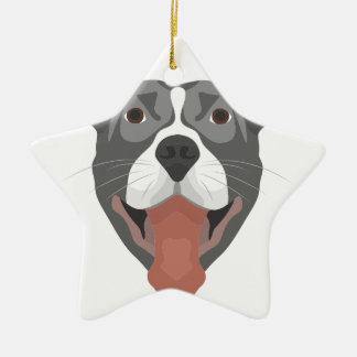 Illustrations-Hund lächelndes Pitbull Keramik Ornament