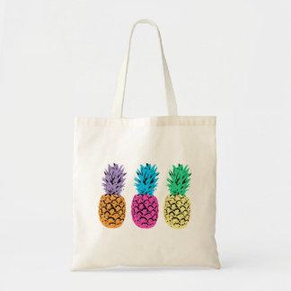 Illustrierte bunte Ananas Budget Stoffbeutel