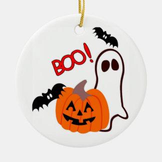 Illustrierter Halloweengeist und -kürbis Keramik Ornament