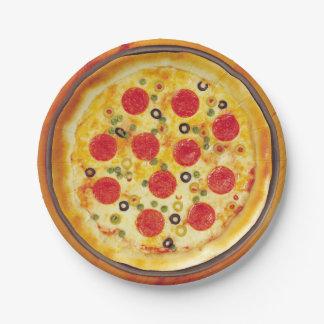 Illustrierter Pizzahintergrund geruhen Pappteller 17,8 Cm