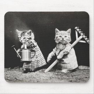 Im Garten arbeitenKätzchen  Kitty mit Rührstange Mousepad