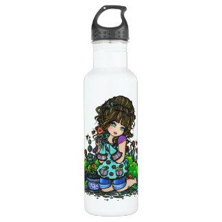 Im Garten arbeitenmädchen-Blumen-Garten-Kunst Trinkflasche