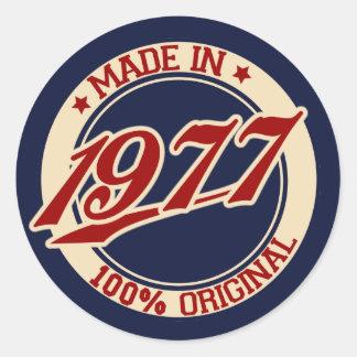 Im Jahre 1977 gemacht Runder Aufkleber