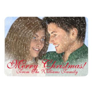Im Schnee-Familien-Weihnachtsgruß 12,7 X 17,8 Cm Einladungskarte