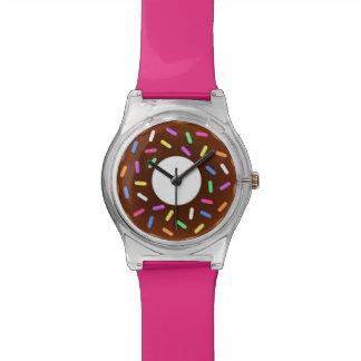 Imbiss-Zeit-Schokolade besprüht rosa Krapfen-Uhr Handuhr