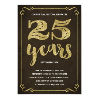 Imitat der Goldtypographie-| vereitelt 25. 12,7 X 17,8 Cm Einladungskarte