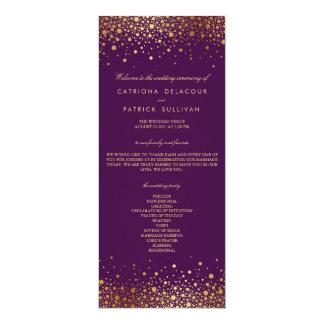 Imitat-Goldfolieconfetti-lila Hochzeits-Programm 10,2 X 23,5 Cm Einladungskarte