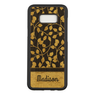 Imitat-Goldfolien-botanisches Blätter, Reben, auf Carved Samsung Galaxy S8+ Hülle
