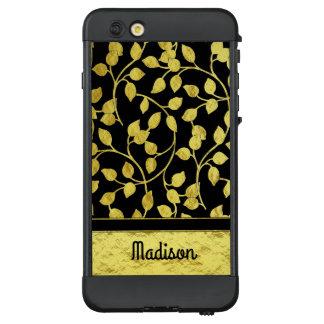 Imitat-Goldfolien-botanisches Blätter, Reben, auf LifeProof NÜÜD iPhone 6 Plus Hülle