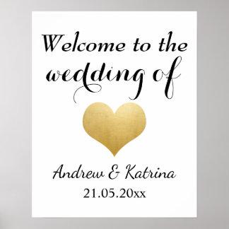 Imitat-Goldfolien-Herz-Hochzeit des Willkommens-| Poster