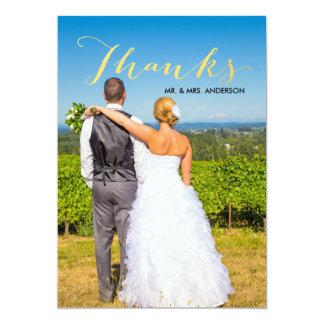 Imitat-Goldfolien-Skript-Foto-Hochzeit danken 12,7 X 17,8 Cm Einladungskarte