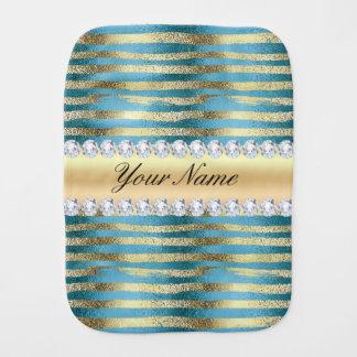 Imitat-Goldfolien-Streifen auf gewelltem blauem Baby Spucktuch