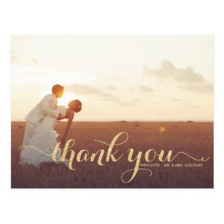 Imitat-GoldGlitter-Hochzeit danken Ihnen Postkarte