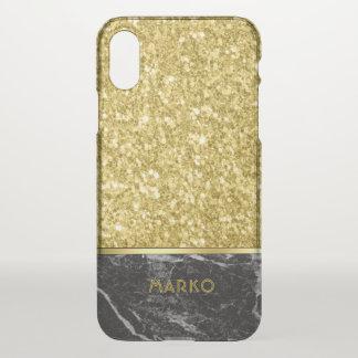 Imitat-GoldGlitzer u. schwarzes Marmormonogramm iPhone X Hülle