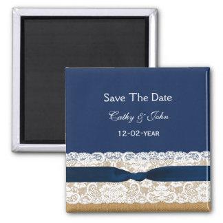 IMITAT Leinwandspitze rustikal Save the Date Magnets