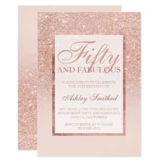 Imitat-RosengoldGlitter eleganter Chic fünfzig 12,7 X 17,8 Cm Einladungskarte