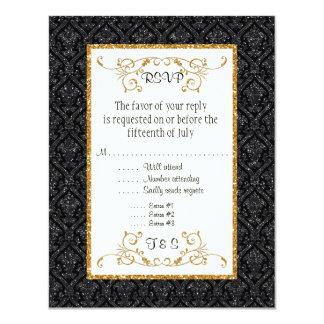 Imitat-schwarzes GoldGlitter-Damast-Karten-Art 10,8 X 14 Cm Einladungskarte