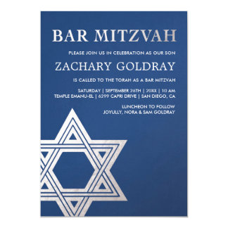 Imitat-silberne Folien-Stern Bar Mitzvah Karte