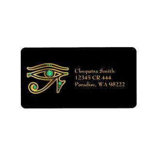 Imitat-Smaragd Auge von Ra im Gold Adressetiketten