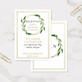 Imitatgoldene Wreath-Hochzeits-Empfangs-Karte Visitenkarte