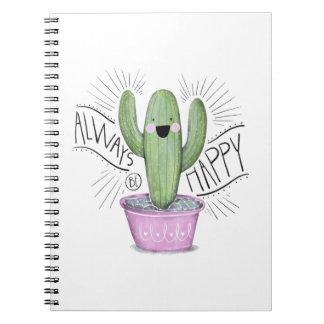 Immer glückliche Kaktus-Pflanze Notizblock