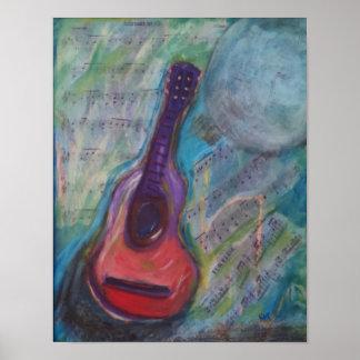 Impressionistische Malerei der Gitarre Poster