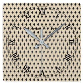 In Schlüssel vertrauen wir mit Ziegeln gedecktem Quadratische Wanduhr