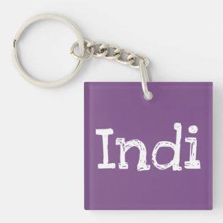 Indi doppelseitiges quadratisches Keychain mit Schlüsselanhänger