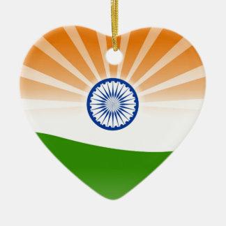 Indien-Flagge Keramik Herz-Ornament