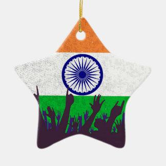 Indien-Flagge mit Publikum Keramik Stern-Ornament