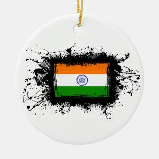 Indien-Flagge Rundes Keramik Ornament