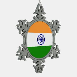 Indien-Flagge Schneeflocken Zinn-Ornament